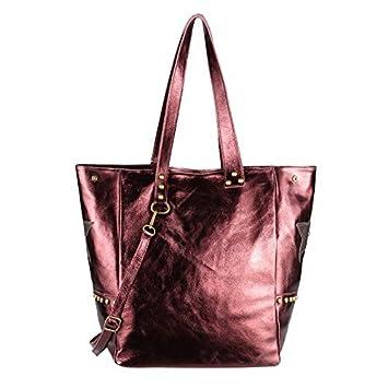 76d9cb77c0 OBC MADE IN ITALY Mesdames XXL métallique cuir sac à main sac de courses  sac à