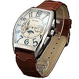 Sewor Herren Armbanduhr, MondPhase Automatikuhr, Tourbillon Lederarmband C1024, weiß
