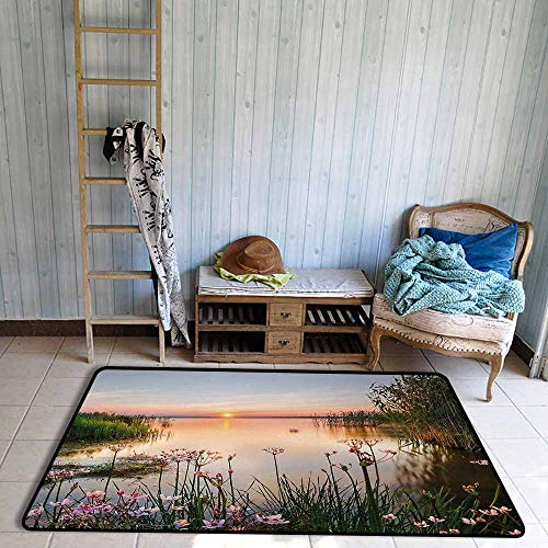Girl Bedroom Rug Nature Sunset at Chudskoy Lake Estonia View Spring Flowers Landscape Photo Quick and Easy to Clean W59 xL71 Green Light Pink Baby - Two Tuscan Light Elegance