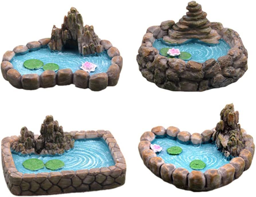 4 PCS Fairy Garden Pond, Miniature Ponds Ornaments kit Bonsai Micro Landscape Craft Garden Accessories Holiday Yard Lawn Garden Sculpture Indoor & Outdoor Decor