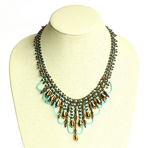 Flattering Flawless Turquoise Chandelier Necklace Czech Crystals Glass Beads Fair Trade Artisan Made (Maya Turquoise Necklace)