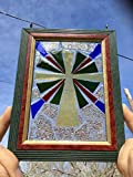 Stained Glass Cross Window Art Sun Catcher, Christian Art