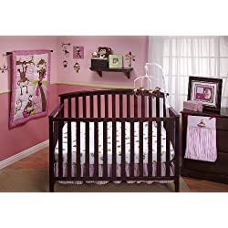 Little Bedding by NoJo 3 Little Monkeys 10 Piece Crib Bedding Set, for girls