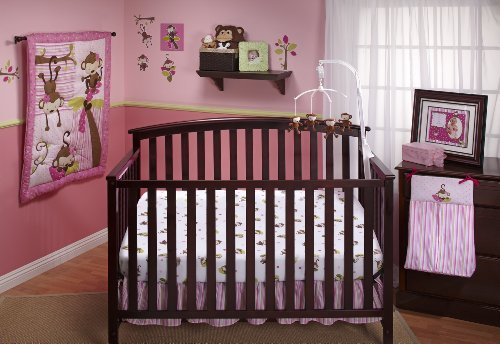 - Little Bedding by NoJo 3 Little Monkeys 10 Piece Crib Bedding Set, Girl