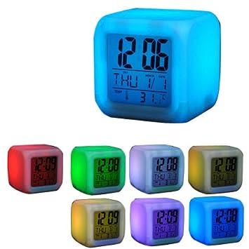 Eyecam 7 colores de LED Dados Reloj digital con pantalla LCD, calendario, despertador, termómetro, función de alarma, muy elegante, eröffnung Oferta (32): ...