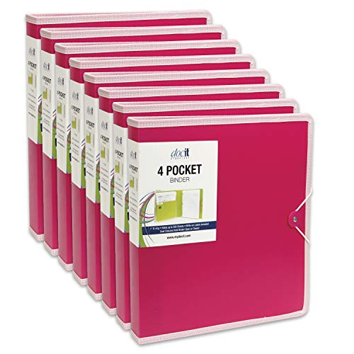 DocIt 4 Pocket Binder, Multi Pocket Folder and 1-inch 3 Ring Binder, Perfect for School, Office and Project Organization, Holds 300 Letter Size Papers, Pink, 8-Pack, (00939-PKC) by Doc It