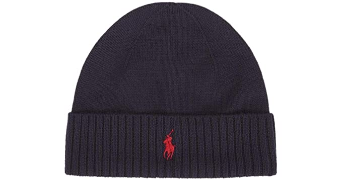 Ralph Lauren Polo Beanie Hat Wool Navy Blue One Size  Amazon.fr  Vêtements  et accessoires 55966e8b637