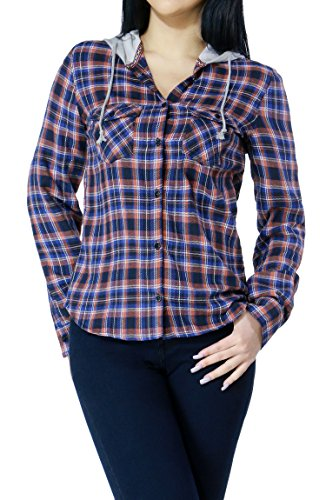 Women Casual Button up Plaid Long Sleeve Shirts with Hoodie and Pockets (Large, Blue-L21401T)