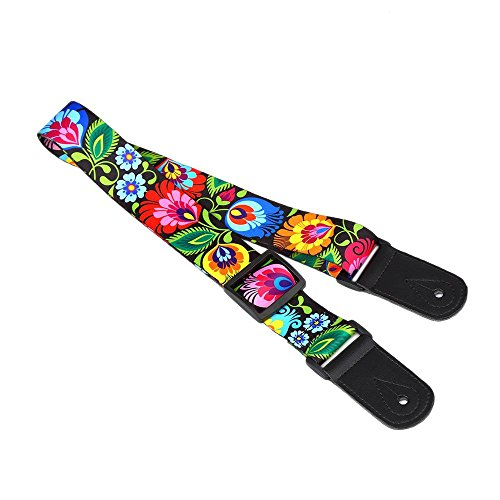 CLOUDMUSIC Flower Series Ukulele Strap Peacock Flower Black