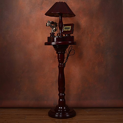 Floor-standing Lamp Vintage Telephone,Wood Luxury Decoration Royal Ornament European Style Landline Corded Telephone-A ()