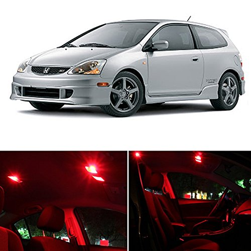 Red Power Package (Honda Civic SI Only 2001-2005 RED Premium LED Interior Lights Package Kit (7 Pieces))