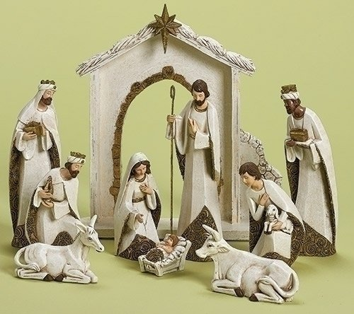 Ivory and Gold Christmas Nativity 10 Piece Set Holiday Decoration New 31379