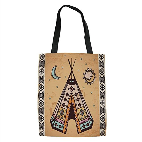 IPrint Tribal,Ethnic Tent with Ancient Symbols Cultural Unique Bohemian Free Spirit Design,Pale Coffee Brown Printed Women Shoulder Linen Tote Shopping Bag - Tent Fisher Price