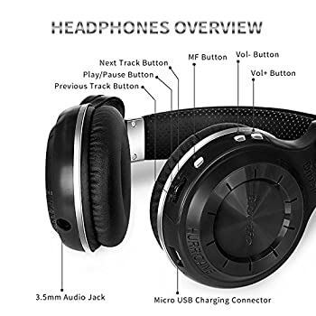 Bluedio T2s Bluetooth Headphones On Ear With Mic, 57mm Driver Rotary Folding Wireless Headset, Wired & Wireless Headphones For Cell Phonetvpc, 40 Hours Play Time (Black) 7