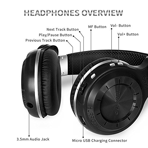 Bluedio T2s Bluetooth Headphones On Ear with Mic, 57mm Driver Rotary Folding Wireless Headset, Wired and Wireless headphones for Cell Phone/TV/PC, 40 Hours Play Time (Black)