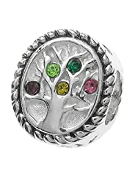 925 Sterling Silver Family Tree Of Love Generation Relationship Link Pink Yellow Green Purple Cz Crystal Bead For European Charm Bracelet