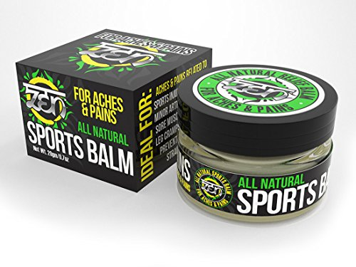 Zen All Natural Sports Balm - To relieve Aches & Pains related to: Sports Injuries, Backaches, Minor Arthritis, Bursitis, Sore Muscles, Joint Pain, Leg Cramps, Sprains & (Muscle Balm)