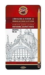 Koh-I-Noor Toison d\'Or Graphite Pencil Graphics Set, 5B-5H Degrees, 12 Pencils Per Tin, 1 Each (FA1502/111.G)