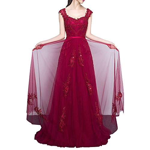 Bodenlang Damen Kleider La Traeger Weinrot Marie Linie Weinrot Promkleider A Braut Abendkleider Breit Spitze Abiballkleider AO71qzwxA