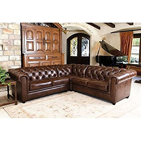 Bon Abbyson Living Hamilton 3 Piece Leather Sectional In Chestnut Brown