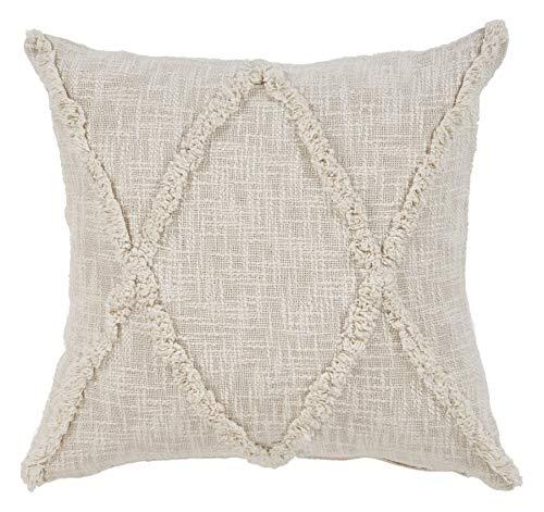 (L.R. Resources PILLO07324NATFFPL Carlton Khaki Diamonds Indoor Throw Pillow, 20