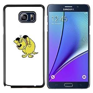 KLONGSHOP // Cubierta de piel con cierre a presión Shell trasero duro de goma Protección Caso - Carácter cómico del Arte Dibujo Historieta del perro - Samsung Galaxy Note 5 5th N9200 //
