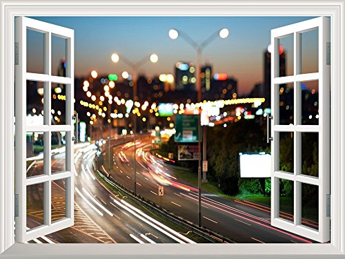 Removable Wall Sticker Wall Mural Blurred City Traffic Lights at Night Creative Window View Wall Decor