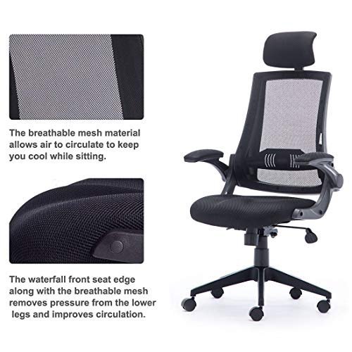 High Back Mesh Office Chair - Ergonomic Design of Computer Desk Chair with Lumbar and Neck Support Color Black Photo #6