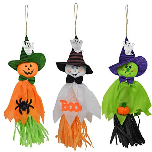 Annymall 3 Pack - Halloween Party Decoration Hanging Ghost Windsock, Spook Pumpkin Fly Witch Scarecrow Doll for Front Yard Patio Lawn Garden Party Decor and Holiday Decorations Themed
