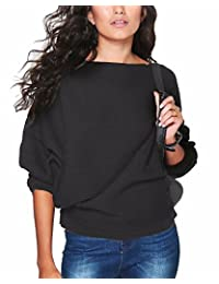 LANISEN Women's Batwing Sleeve Loose Pullover Knitted Sweater Jumper Top