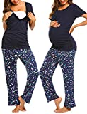 Ekouaer Women's Maternity Nursing Pajamas Sets Breastfeeding Printed Sleepwear Short Sleeve 2 Pcs Henley Top and Pants Set (TYPE1 - Navy Blue, L)