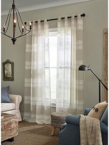 Amazon Com Allen Roth Palma 84 In Tan Polyester Grommet Semi Sheer Single Curtain Panel Home Kitchen