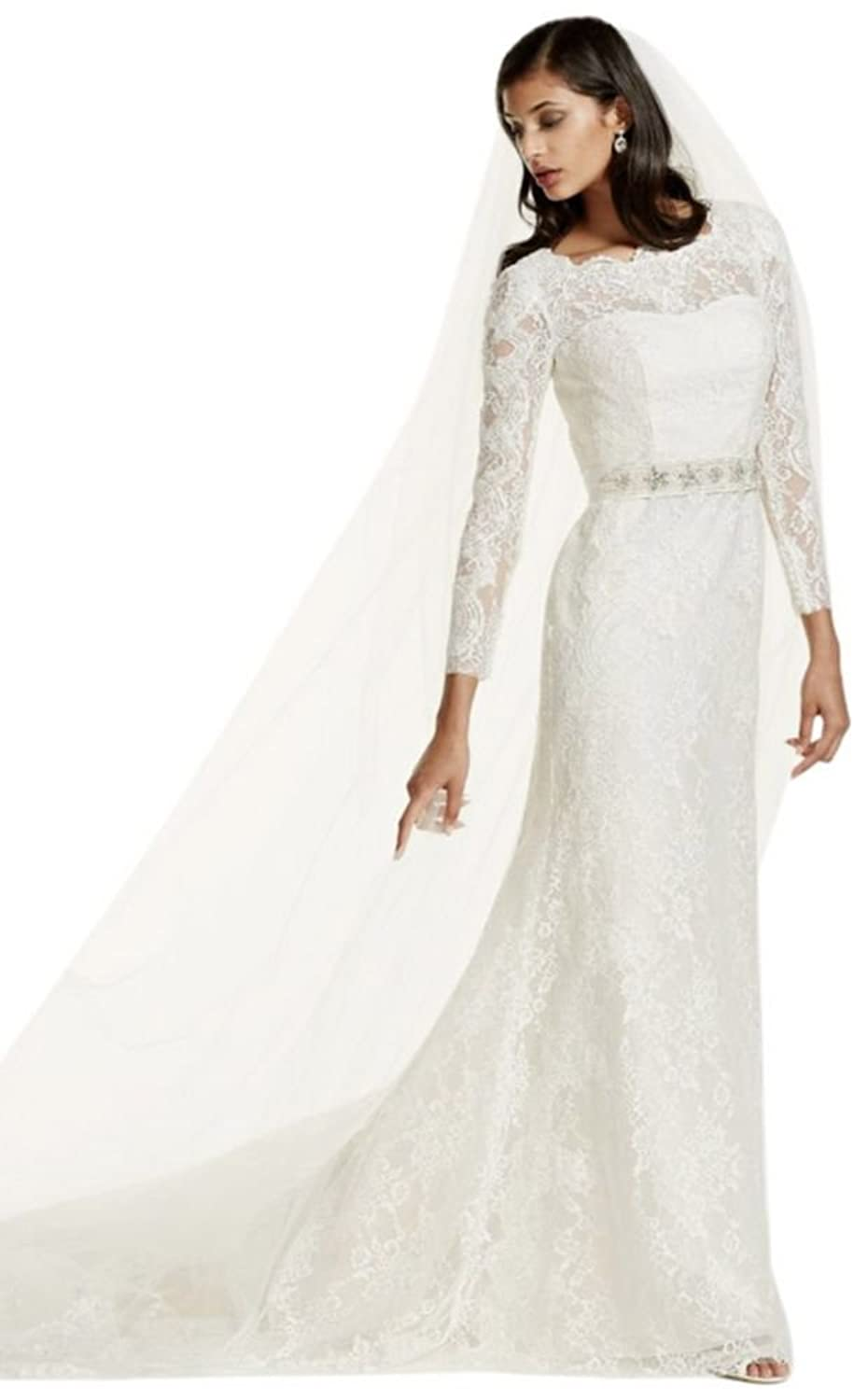 David\'s Bridal Long Sleeve Wedding Dress with Beaded Lace Style ...