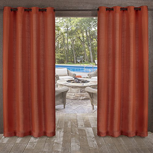 Exclusive Home Curtains Delano Heavyweight Textured Indoor/Outdoor Grommet Top Curtain Panel Pair, 54x84, Mecca Orange, 2 Piece (Ready Drapery Made Panels Silk)
