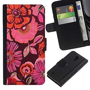 SAMSUNG Galaxy S4 IV / i9500 / SGH-i337 Modelo colorido cuero carpeta tirón caso cubierta piel Holster Funda protección - Orange Purple Pink Flowers