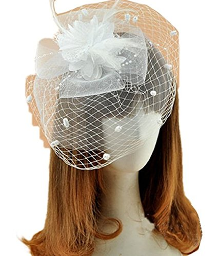 Cocktail White Top Hat Headband (YABINA Women's Fascinator Clip Veil Cocktail Tea Party Church Hat Bridal Headpiece (White))