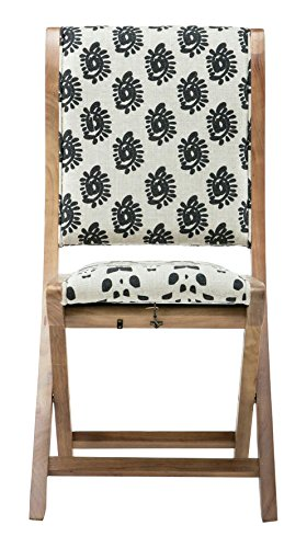 Dining Black Chair Folding (Boraam 85007 Misty Folding Dining Chair, black, Beige, & Natural, Pattern 4)