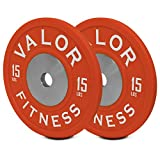 Valor Fitness BPPU-15 Polyurethane Bumper Plate (Sold As Pair), 15 lb