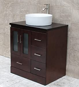 "30"" Bathroom Vanity Cabinet Vessel Sink Wood Top MO3"