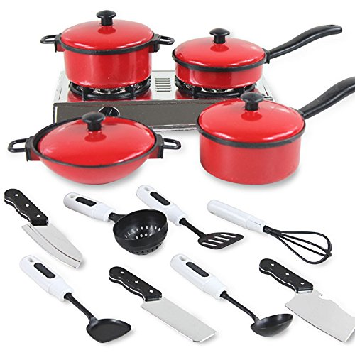 ShiningLove 13 Sets Pots and Pans Kitchen Cookware for Children Play House Toys, Simulation Kitchen Utensils