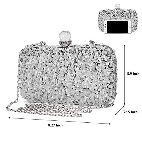 UBORSE Women Wedding Clutch Rhinestone Bling Sequin Evening Bags Vintage Crystal Beaded Cocktail Party Party Purse Silver by UBORSE (Image #5)