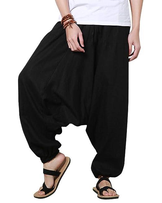 Pantalón Lino Hombres Casual Harem Holgado Hippie Danza ...