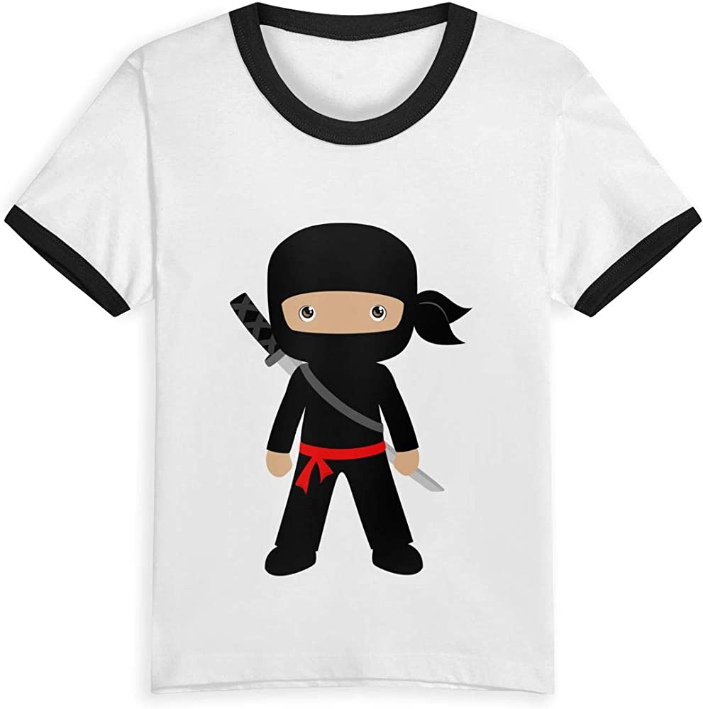 Queen Elena Ninja, 2 – 6Y Playera con Estampado de Dibujos Animados para niños, Verano para niños y niñas, Camisetas a la Moda, Ropa de algodón para niños, Color de Contraste Negro