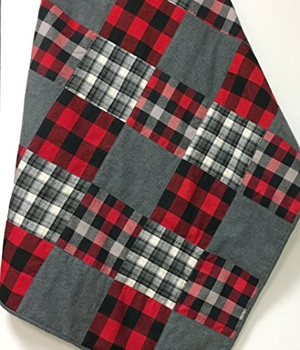 Lumberjack Flannel Baby Quilt Patchwork Buffalo Plaid Handmade by Carlene Westberg Designs