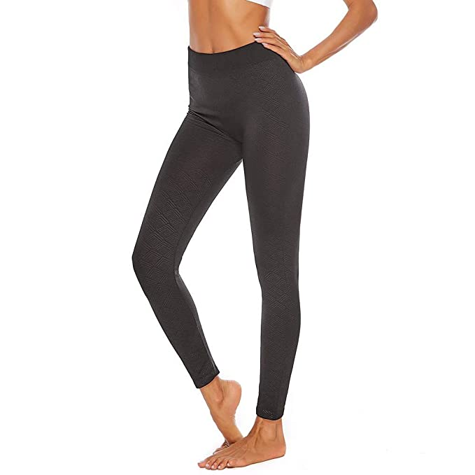 iCJJL High Waist Tummy Control Lace up Running Workout Leggings for Yoga with Pockets