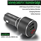Dual USB Car Charger For iPhone x 8 6 7 Plus, fast car charger quick charge 3.0 for Galaxy S9 S8 S7 S6 Edge Plus Note 8, Cigarette Lighter Adapter w/Safety Hammer, 34W QC 3.0 & 5V/2.1A Ports black