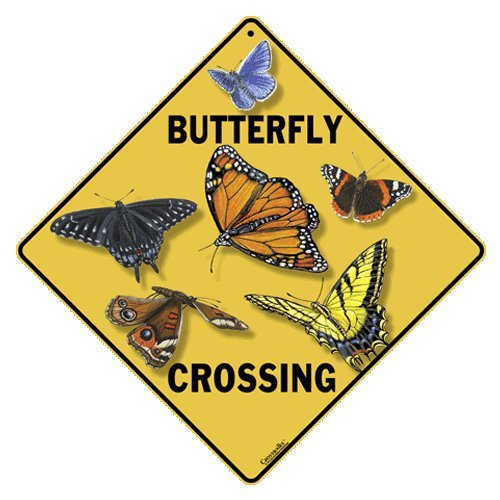 """Butterfly Crossing 12"""" X 12"""" Aluminum Sign"""
