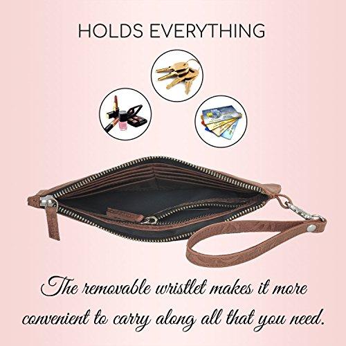 With Removable Women's Wristlet Brown Wallet Leather Strap Premium Clutch Purse 5qCxOHwEg