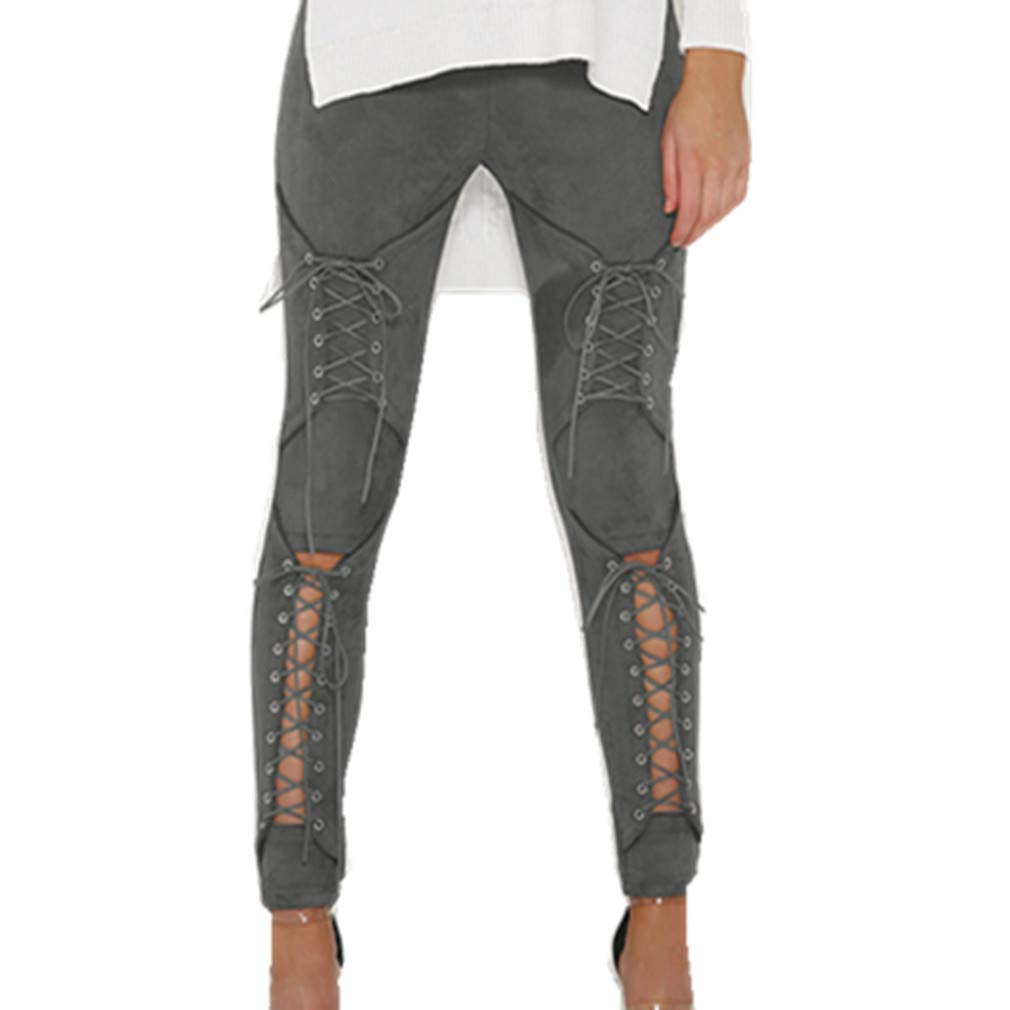 LnLyin Jeans Stretch Hose Zerrissen High Waist Jeanshose Skinny Hochbund Hose Damen Mädchen Frauen,Grau,L