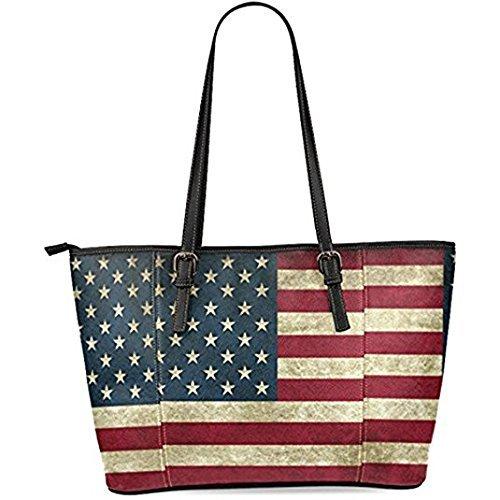 InterestPrint Vintage American Flag Women's Leather Tote Shoulder Bags Handbags